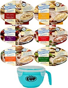 Thick & Easy Pureed Meals Variety, Scrambled Eggs, French Toast, Roasted Chicken, Beef, Lasagna, and Roasted Turkey with By The Cup Serving Bowl