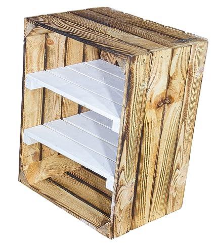 Juego de 2 gefla Naturaleza Madera Caja con 2 Medio Tablas en color blanco - Entre Tabla Horizontal de flambierte fruta (como zapatero/estante/ - Estantería ...