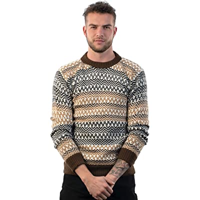 Intialpaca Men's Crewneck Fair Isle Alpaca Sweater in Beige Tones Lavaredo at Men's Clothing store