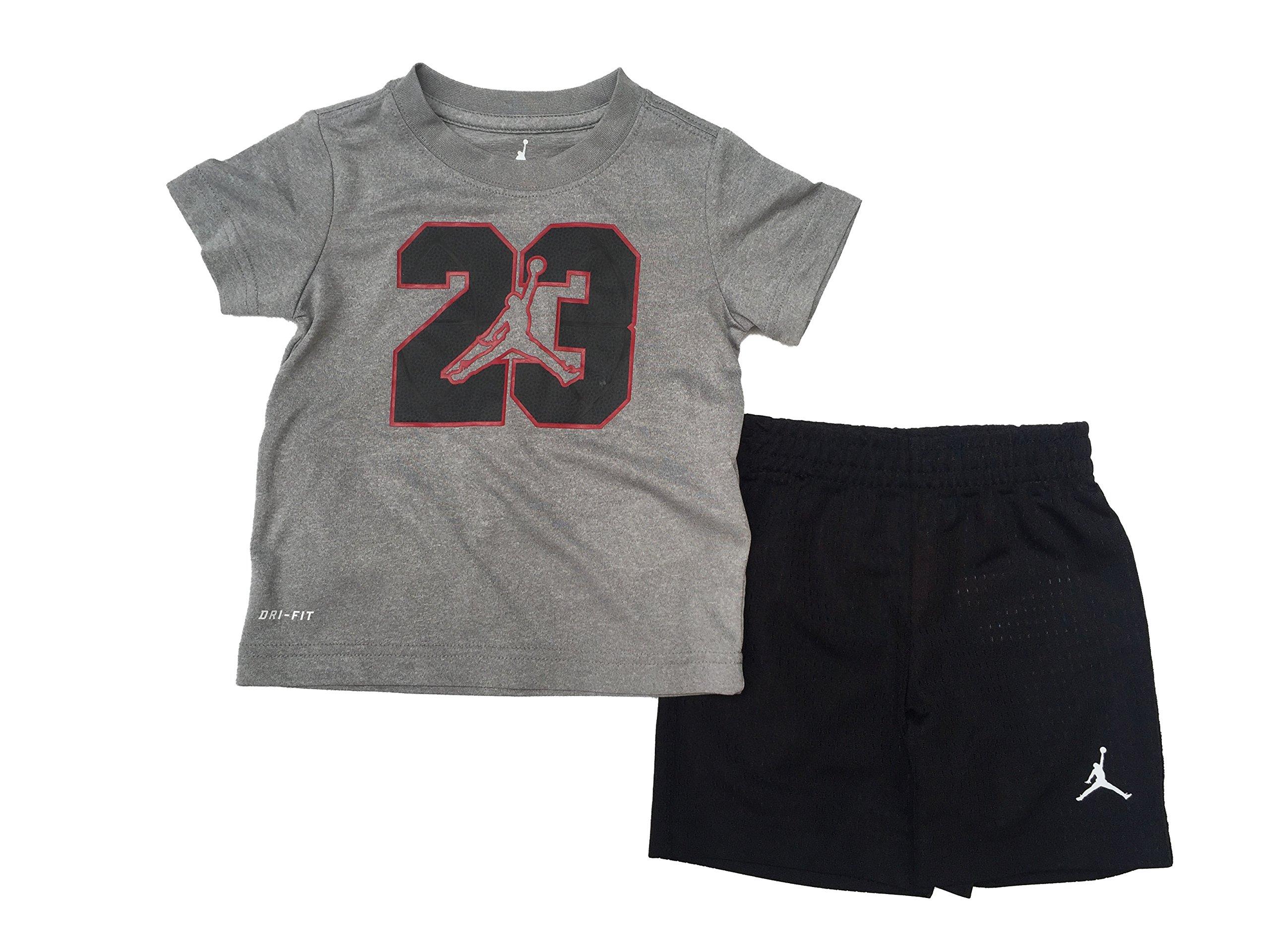 Jordan Jumpman 23 Logo Toddler Boys T-Shirt and Shorts Set Black/Dark Grey Heather Size 2T