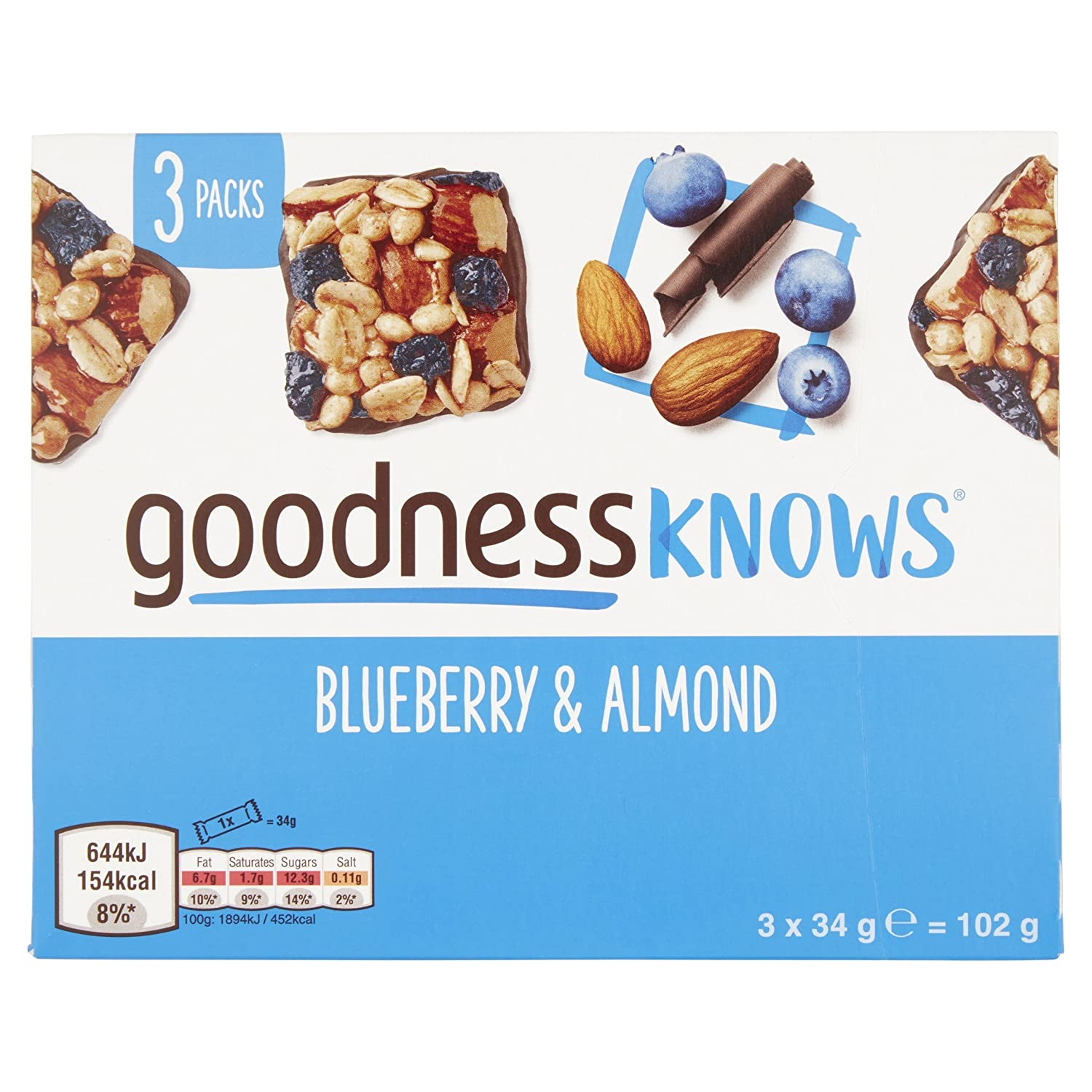 goodnessKNOWS Blueberry and Almond Multipack Snack, 102 g: Amazon.co.uk:  Prime Pantry