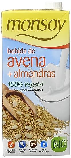 Monsoy Avena con Almendra Bebida Vegetal - 4 Paquetes x 1000 ml - Total: 4000