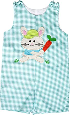 8c7150352 Amazon.com  Angeline Baby Infant Toddler Boys Easter Bunny Shortall ...