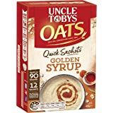 UNCLE TOBYS Oats Quick SACHETS Golden Syrup, 12 x 35g
