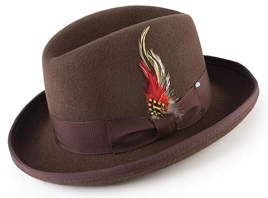 MONTIQUE Trendy Long Lasting Godfather Homburg Wool Felt Dress Hat for Men  (Small 2a4fea2b156