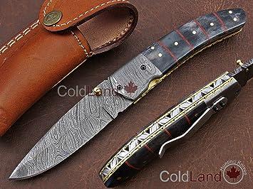 ColdLand - Cuchillo de Caza Plegable de Acero de Damasco ...