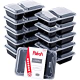 Paksh Novelty Meal Prep Lunch Containers 2-Compartment with Super Easy Open Lids - BPA-Free, Reusable, Microwavable - Bento Box Food Containers for Portion Control, and Leftovers (10 Pack), 887 ml