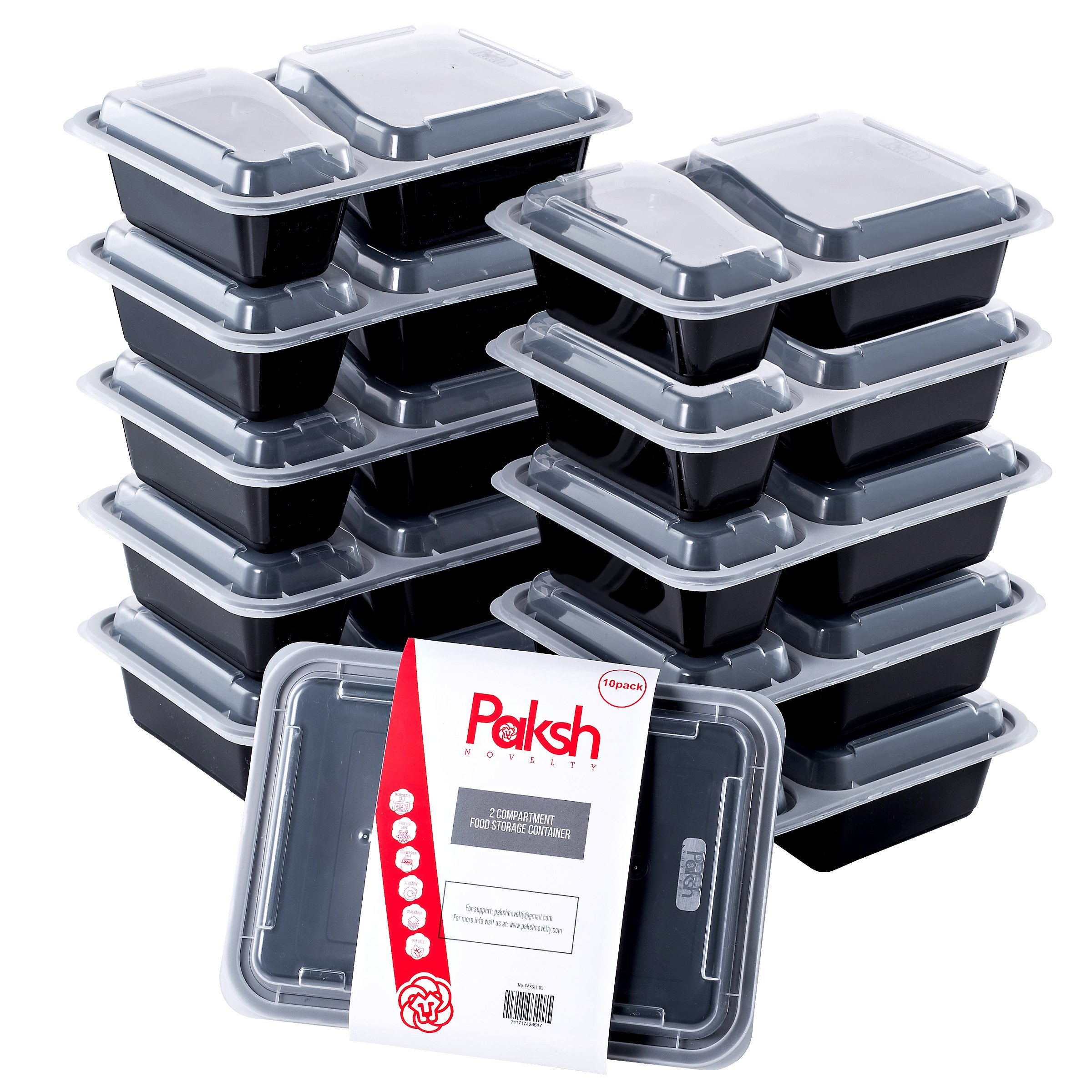 Paksh Novelty Meal Prep Lunch Containers 2-Compartment with Super Easy Open Lids - BPA-Free, Reusable, Microwavable - Bento Box Food Containers for Portion Control, and Leftovers (10 Pack), 30 ounces.