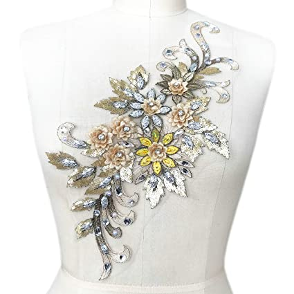 Amazon.com  1938cm 3D Colorful Flower Mesh Embroidered Rhinestone ... ea72b63bd576