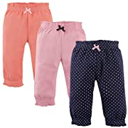 Hudson Baby Cotton Pants, 3 Pack, Navy Polka Dots, 0-3 Months (3M)