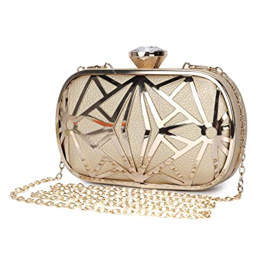 b171922cf4 Clocolor Women Evening Bags Exquisite Leather Handbag Metal Hollow Designer  Wedding Party Clutch Purse