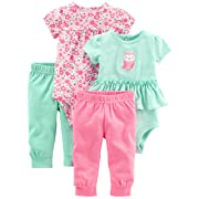 Simple Joys by Carter's Baby Girls' 4-Piece Bodysuit and Pant Set, Pink Floral/Mint Owl, 24 Months
