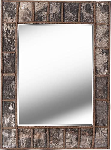 Kenroy Home Rustic Wall Mirror, 38 Inch Height, 28 Inch Width, 1 Inch Ext. with Natural Birch Bark Finish