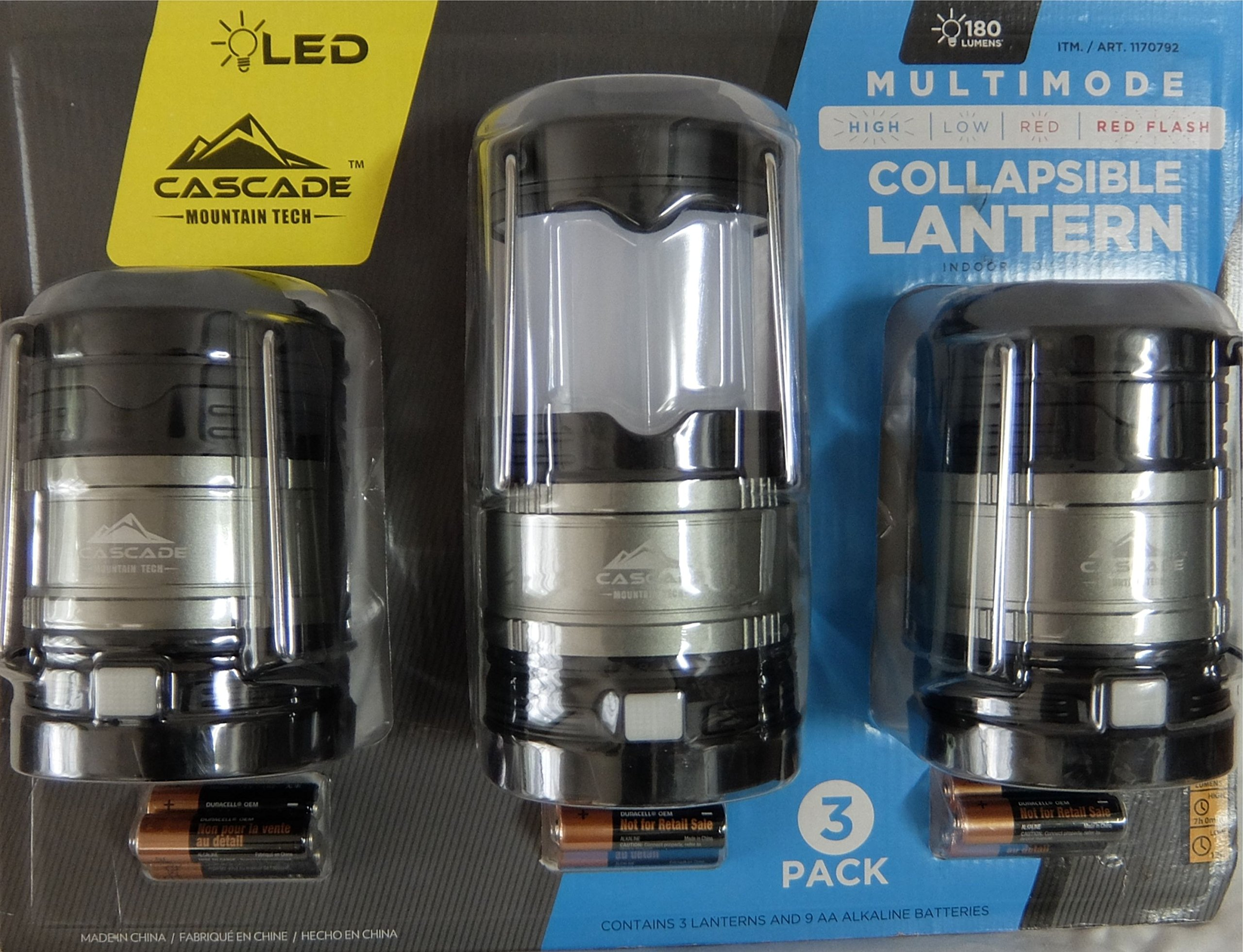 Cascade Mountain Tech Collapsible LED Lantern, Perfect Lighting for Camping, BBQ's and Emergency Light - 3 Pack Batteries Included