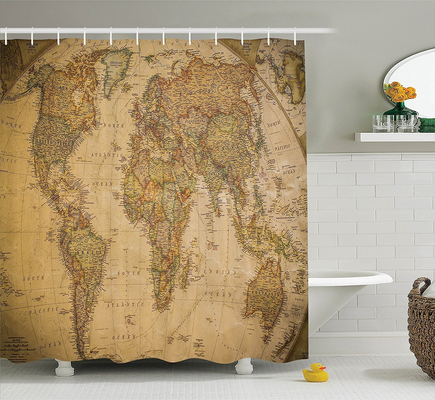 Old world map accessories - Old world map shower curtain ...