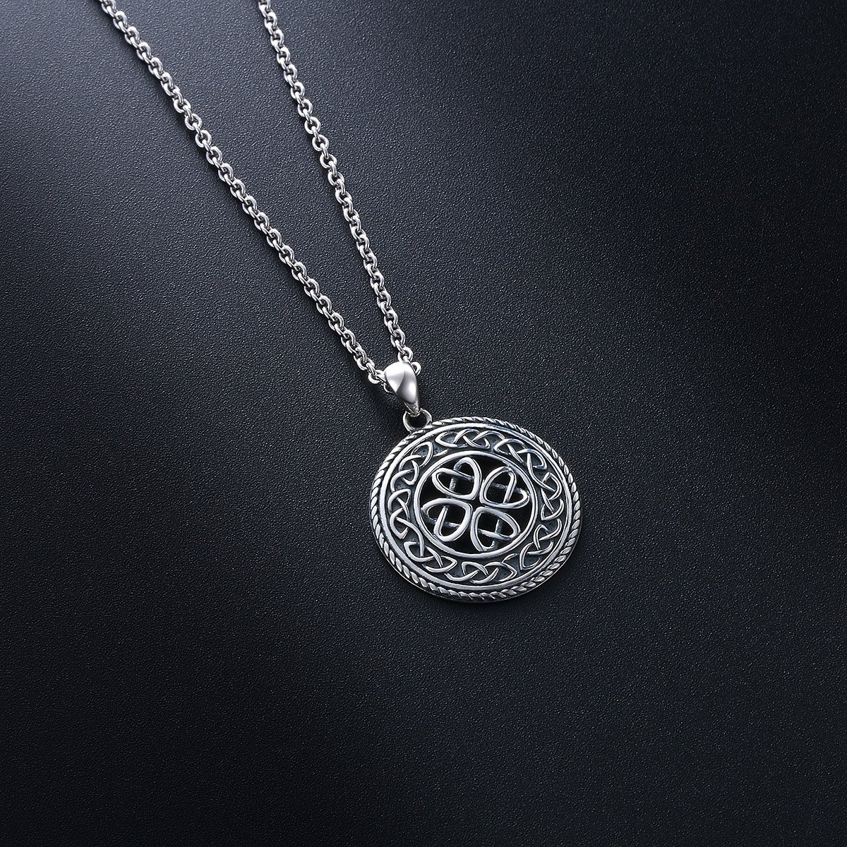 ff1816a5ac73 925 Sterling Silver Jewelry Oxidized Good Luck Irish Knot Celtic Medallion  Round Pendant Necklace