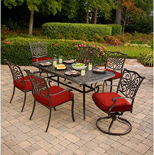 Hanover Traditions 7-Piece Cast Aluminum Outdoor Patio Dining Set