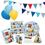 Transportation Party Supplies Set for 12 - Birthday Party Kit includes Cups, Plates, Napkins, Balloons, Hats, Favor Bags, Candles and Party Bunting