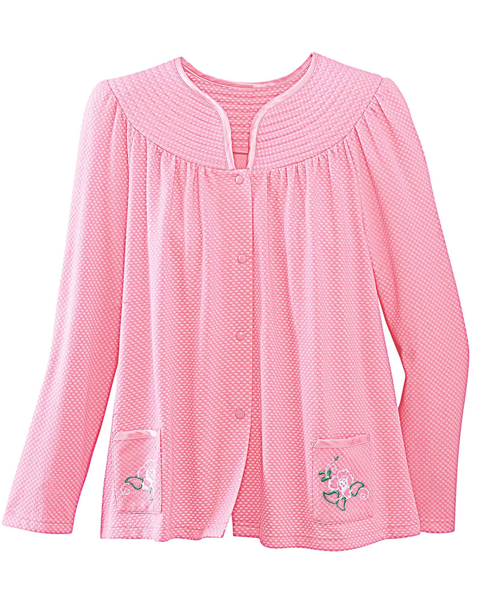 National Trapunto Yoke Bed Jacket, Rose, Large
