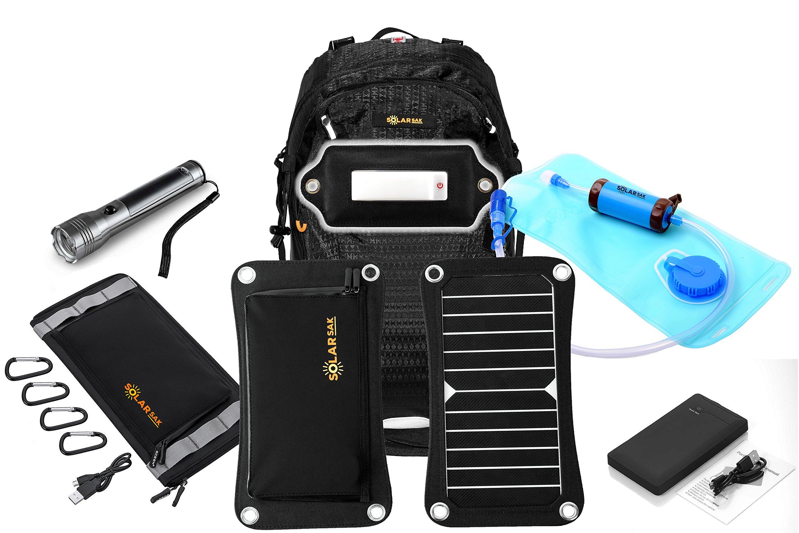 SolarSak INFINITY survival kit w/ water filtering solar hydration backpack - 7W SUN PIECE panel - 10W SUN PIECE portable solar - MOON PIECE LED light - solar flashlight - 10000mah battery