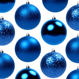 Festive, Shatterproof Ornaments Variety 60 Pack. 2.4 in Matte, Shiny, Sequin and Glitter Bulk Plastic Christmas Holiday Ball and Hook Set. DIY W/ Fun Blue Baubles for Xmas Trees, Wreaths or Garlands