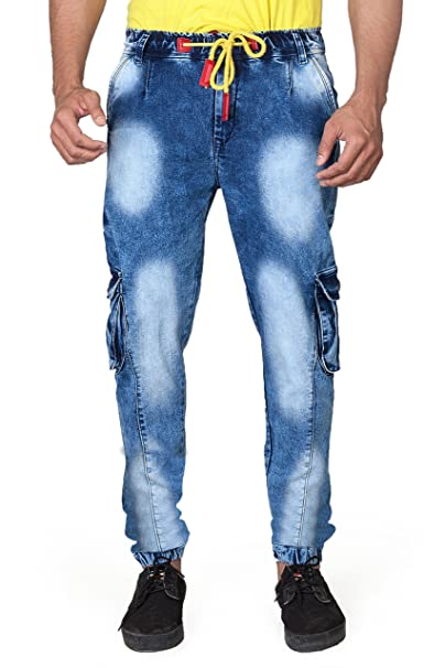 a7e84db3 Villain Denim Joggers for Men - Elastic Cargo Pants for Boys - Fashionable  Denim Track Pants - Blue: Amazon.in: Clothing & Accessories