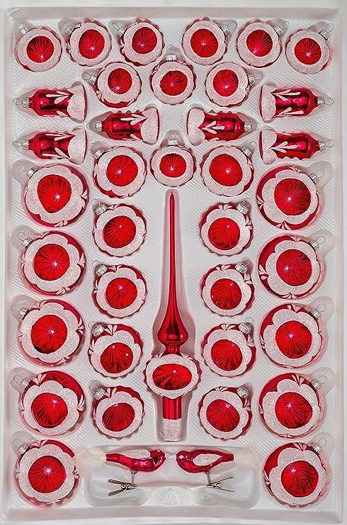 Christbaumkugeln Reflexkugeln.39 Tlg Glas Weihnachtskugeln Set In Hochglanz Vintage Rot Christbaumkugeln Weihnachtsschmuck Christbaumschmuck Reflektorkugeln Reflexkugeln Refle