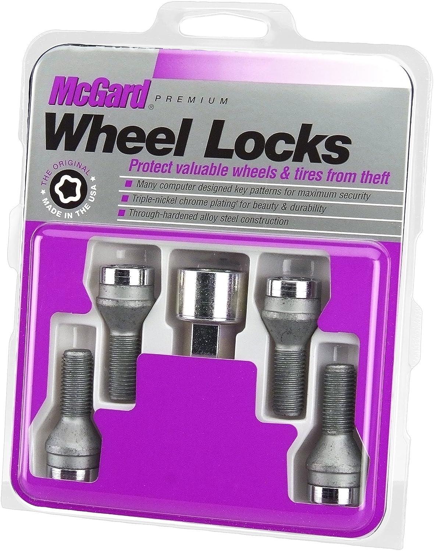 McGard 27181 Chrome Bolt Style Cone Seat Wheel Locks (M14 x 1.5) - Set of 4 KEYU1