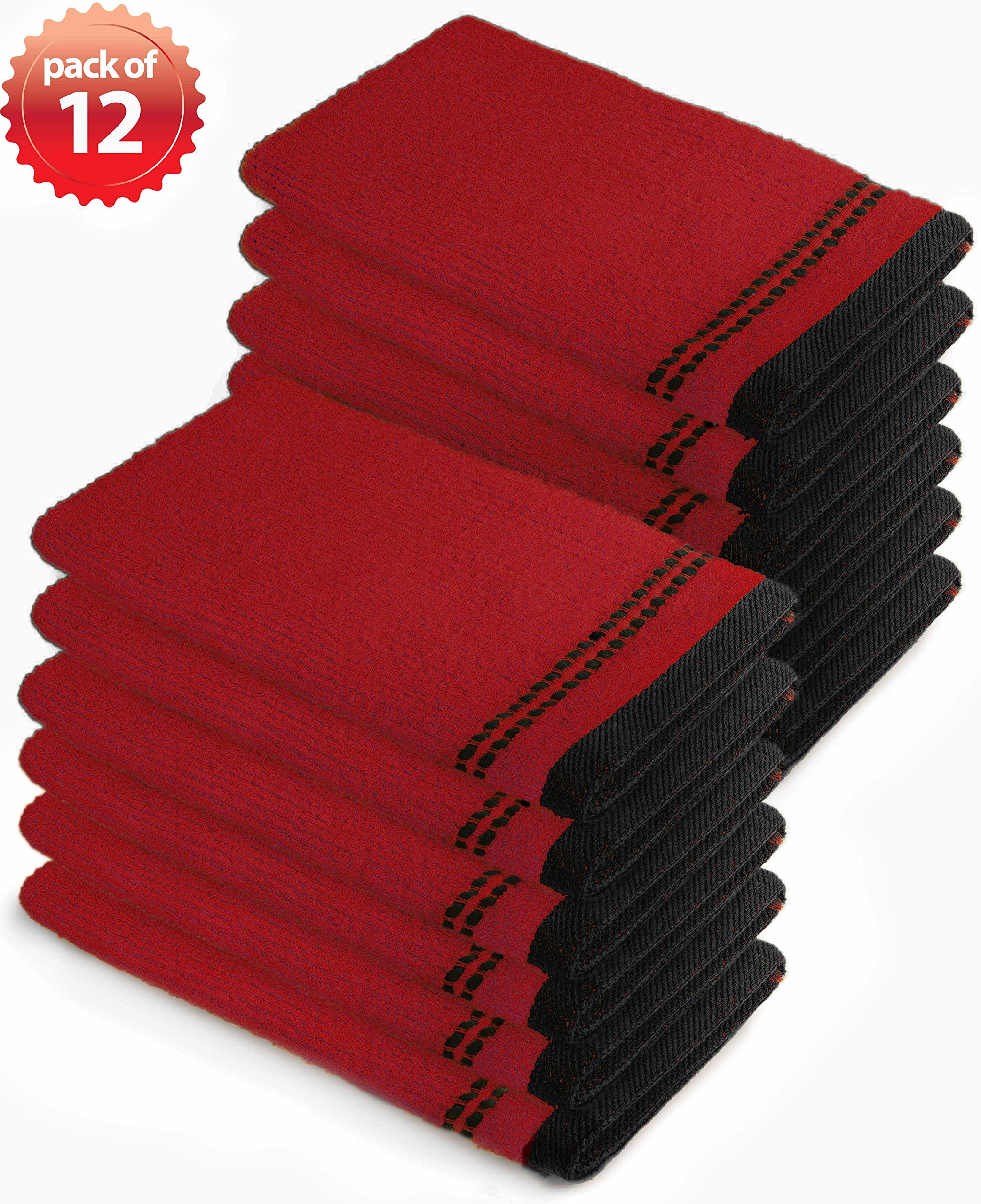 Everydayspecial Kitchen Towel Collection Barmop 17''x19'' Burgundy 12 pack