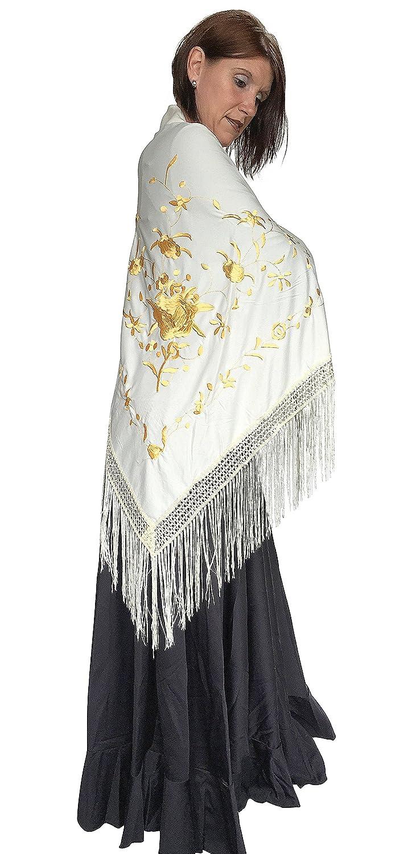 La Se/ñorita Foulard cintura chale manton de manila Flamenco di danza bianco oro