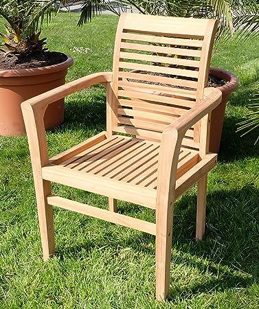 Amazon.de: ECHT TEAK Design Gartensessel Gartenstuhl Sessel ...