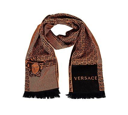 a5e02ffcb Versace Medusa Head with Greek Key Stripes Wool Scarf Burnt Orange Black