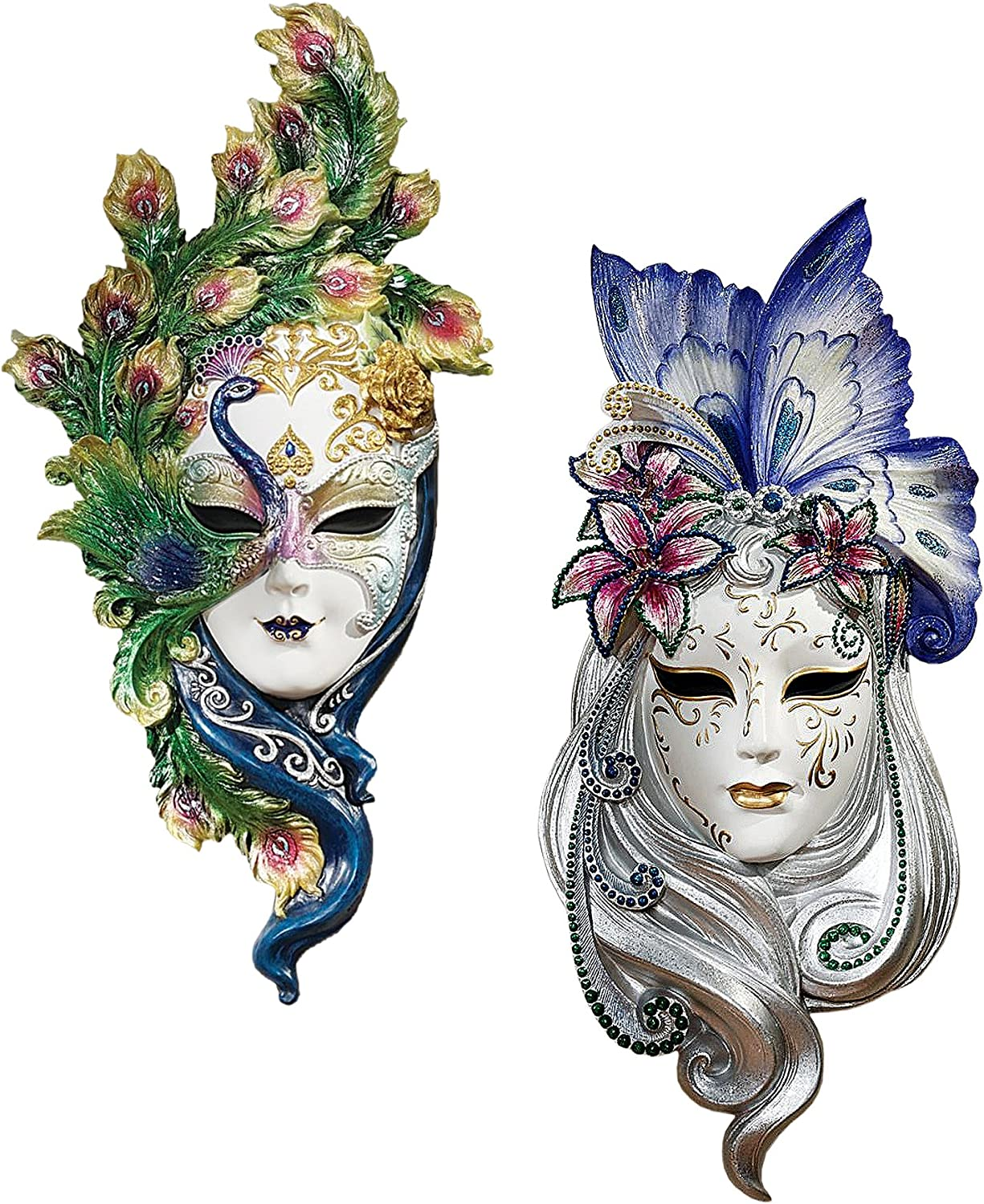"Design Toscano Peacock Feathers and Butterfly Wings Masks of Venice Wall Sculptures Polyresin, Set of 2, 13"", Full Color"