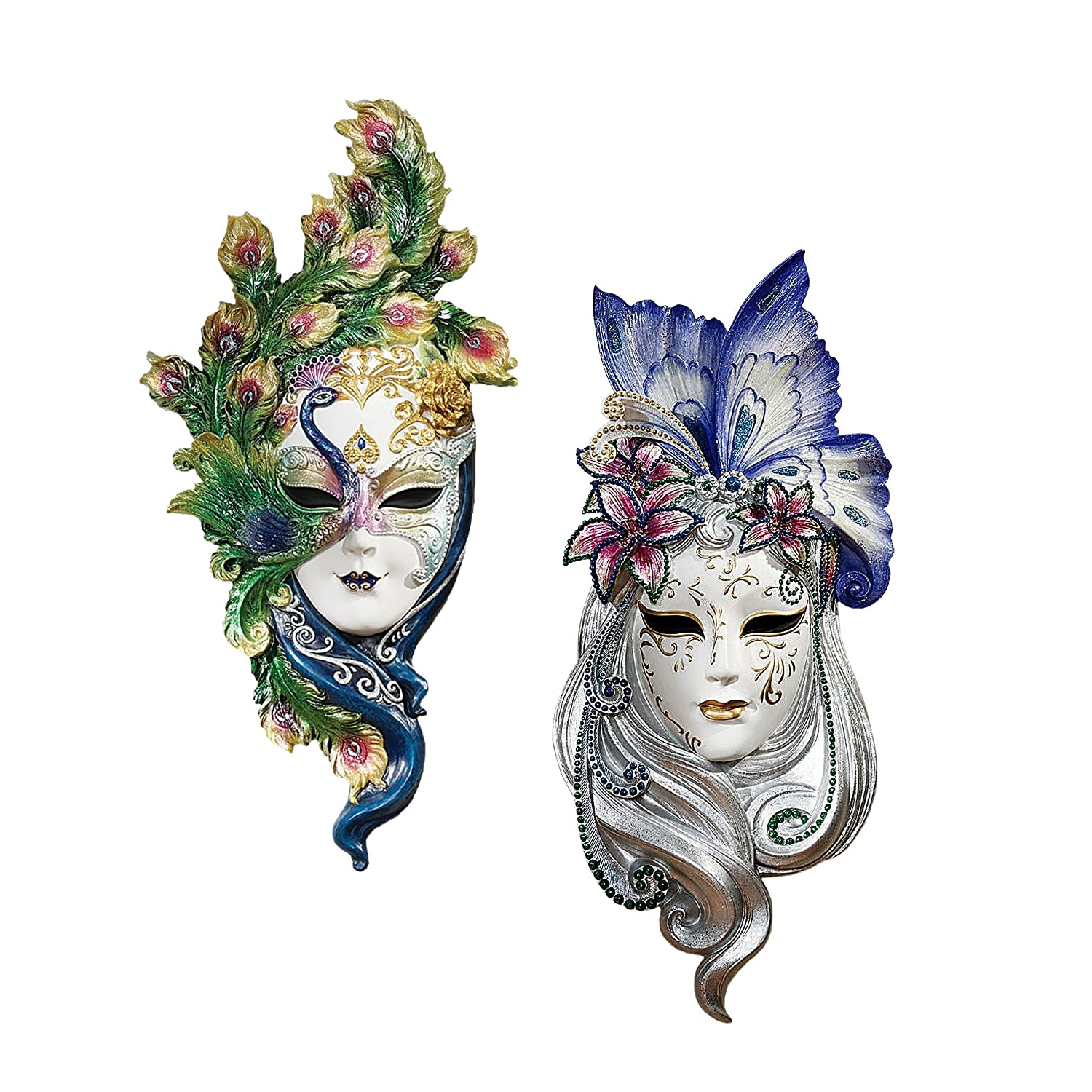 Design Toscano WU974134 Mask of Venice Wall Sculpture: Peacock Butterfly Masks