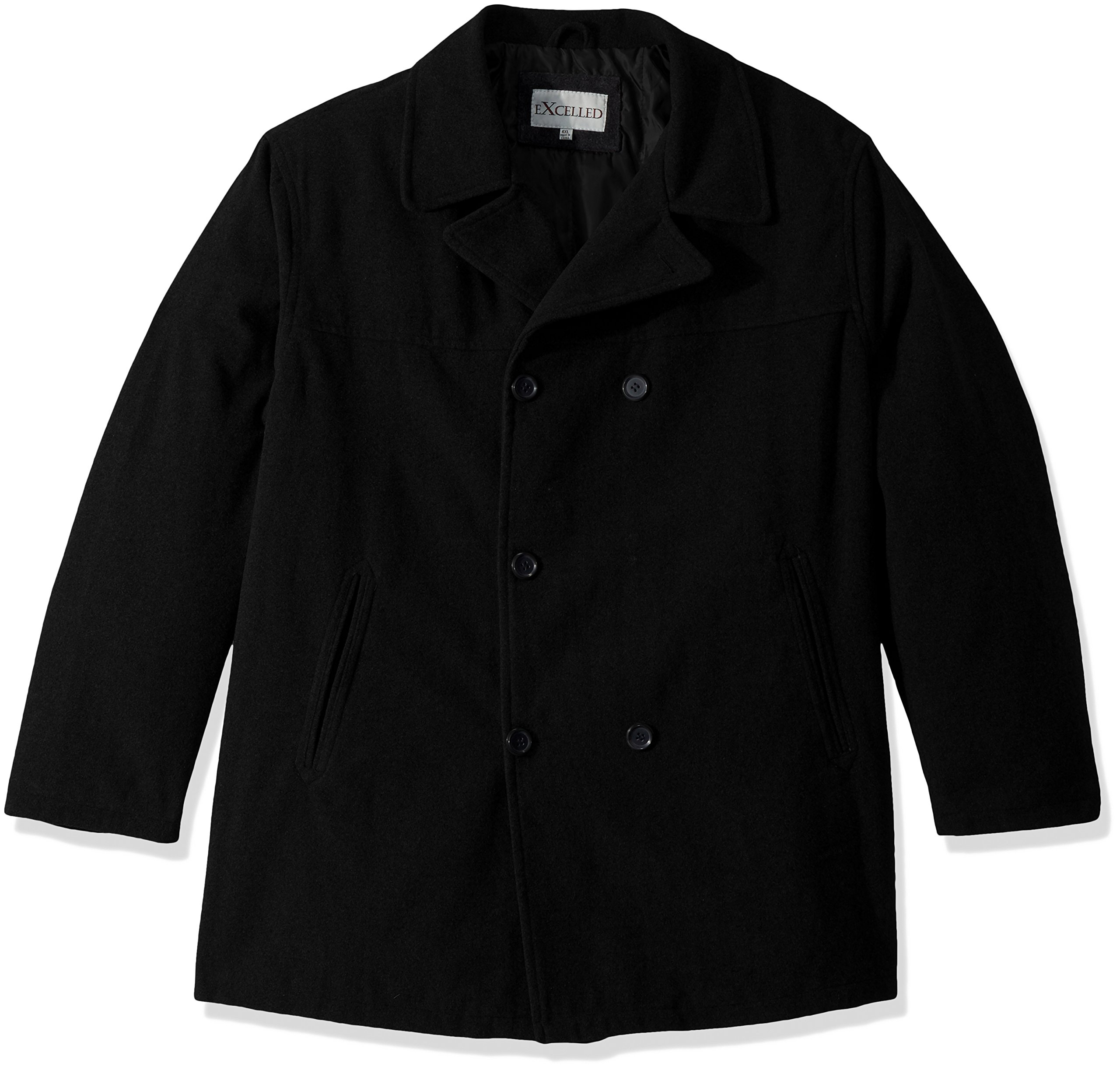 Excelled Men's Big and Tall Polyester Peacoat, Black, 4X