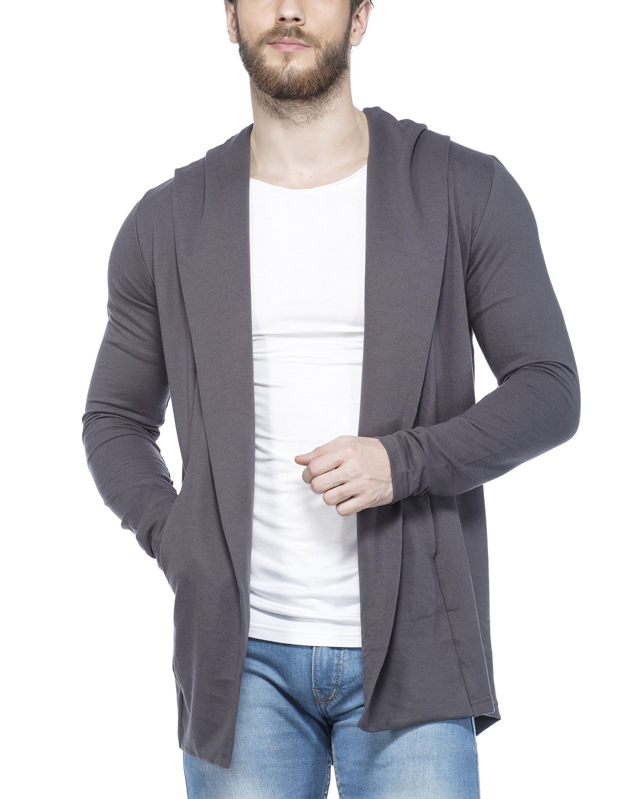 Tinted Men's Cotton Blend Hooded Cardigan (X-Large, Dark Grey)