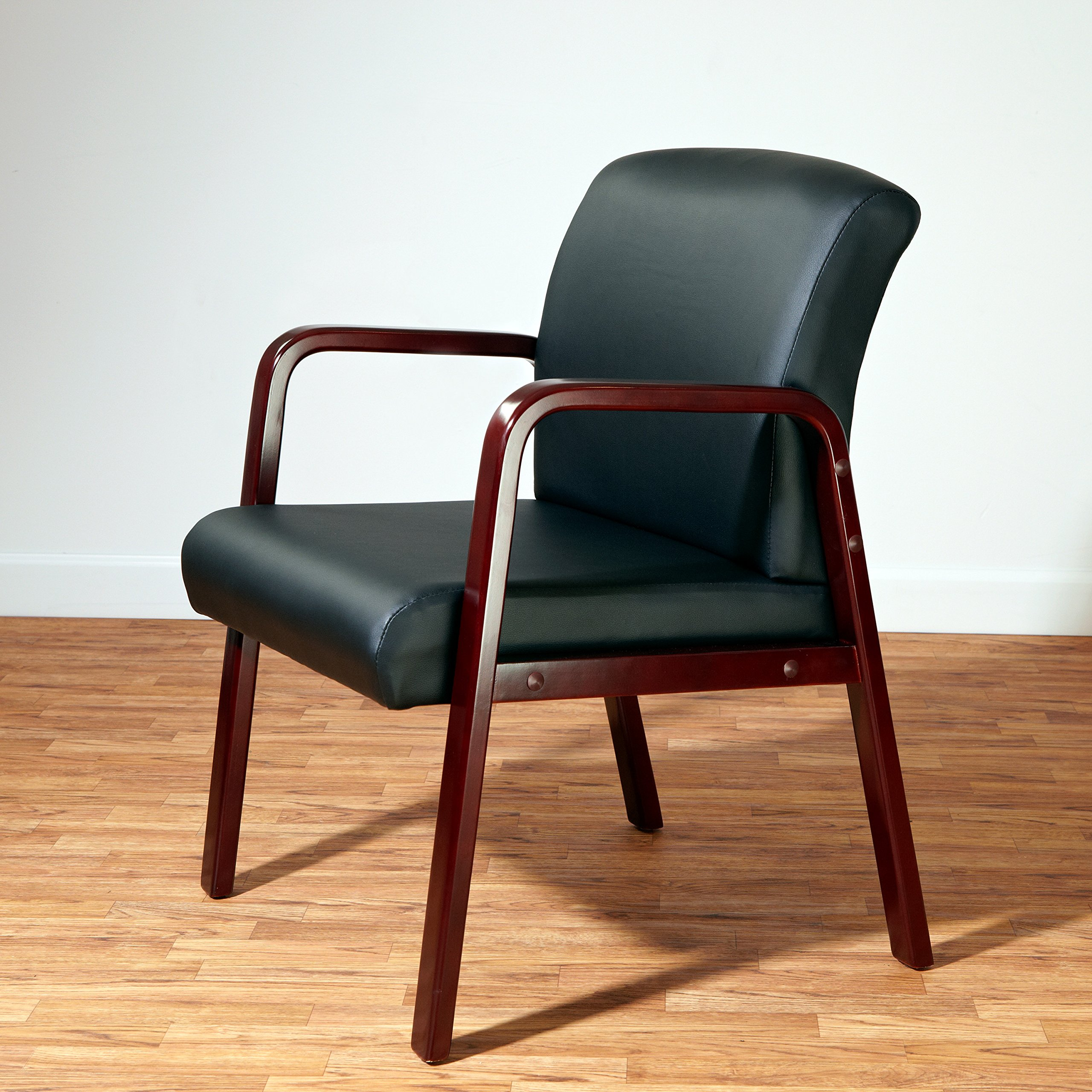 Alera ALERL4319M Reception Lounge Series Guest Chair, Mahogany/Black Leather by Alera (Image #14)