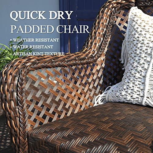 HAPLIFE Patio Conversation Set 3 PCs Rattan Wicker Outdoor Furniture Rocking Chair Set Water-Resistant