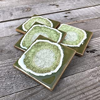 product image for Geode Crackle Coaster Set of 4 in WASABI: Geode Coaster, Crackle Coaster, Fused Glass Coaster, Crackle Glass Coaster, Agate Coaster, Ceramic Coaster, Dock 6 Pottery Coaster