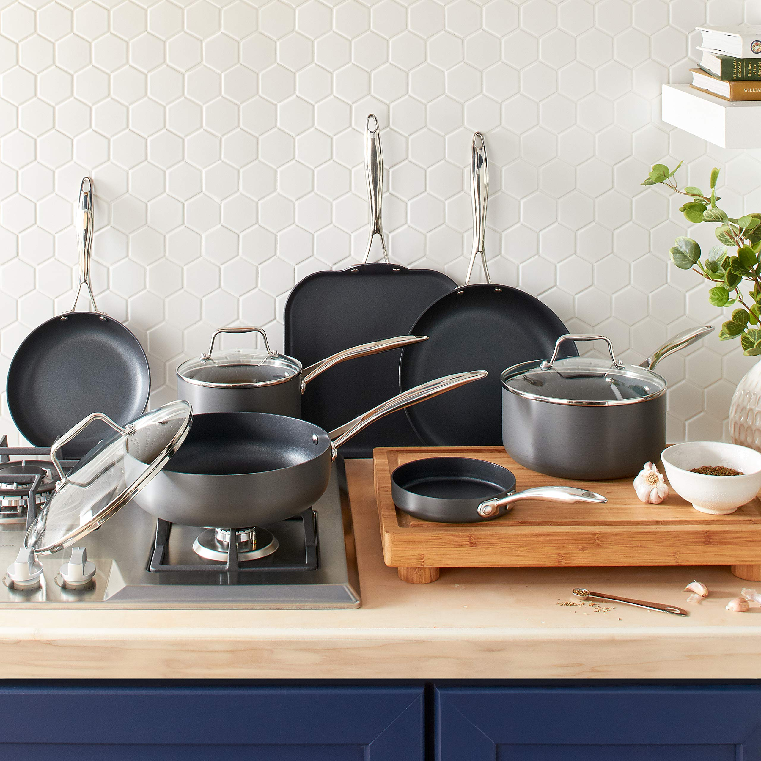 Stone & Beam Kitchen Cookware Set, 17-Piece, Pots and Pans, Hard-Anodized Non-Stick Aluminum by Stone & Beam (Image #3)