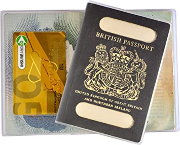 British Passport Cover Clear With Vintage Blue Original Style 2way - Labyrinth-security-door-chain