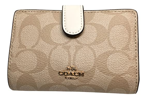dc9b6b685d094 Image Unavailable. Image not available for. Color  Coach Signature PVC  Medium Corner Zip Wallet Light Khaki ...