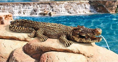 Design Toscano Crotchety Crocodile Piped Spitting Statue