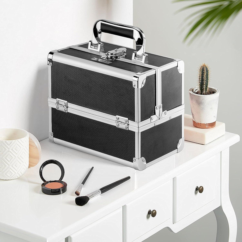 AMASAVA Mallette Maquillage Beauty Case Valise Maquillage Coffret cosm/étique Bo/îte /à Maquillage avec Miroir et cl/é Coffrets Professionnelle 25.5 /× 19.5 /× 22cm(Noir)