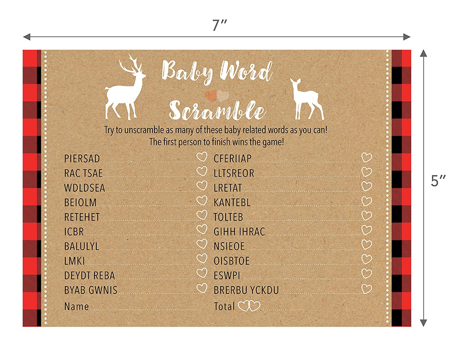 24 Count Rustic Woodland Buffalo Plaid Baby Shower Word Scramble Game