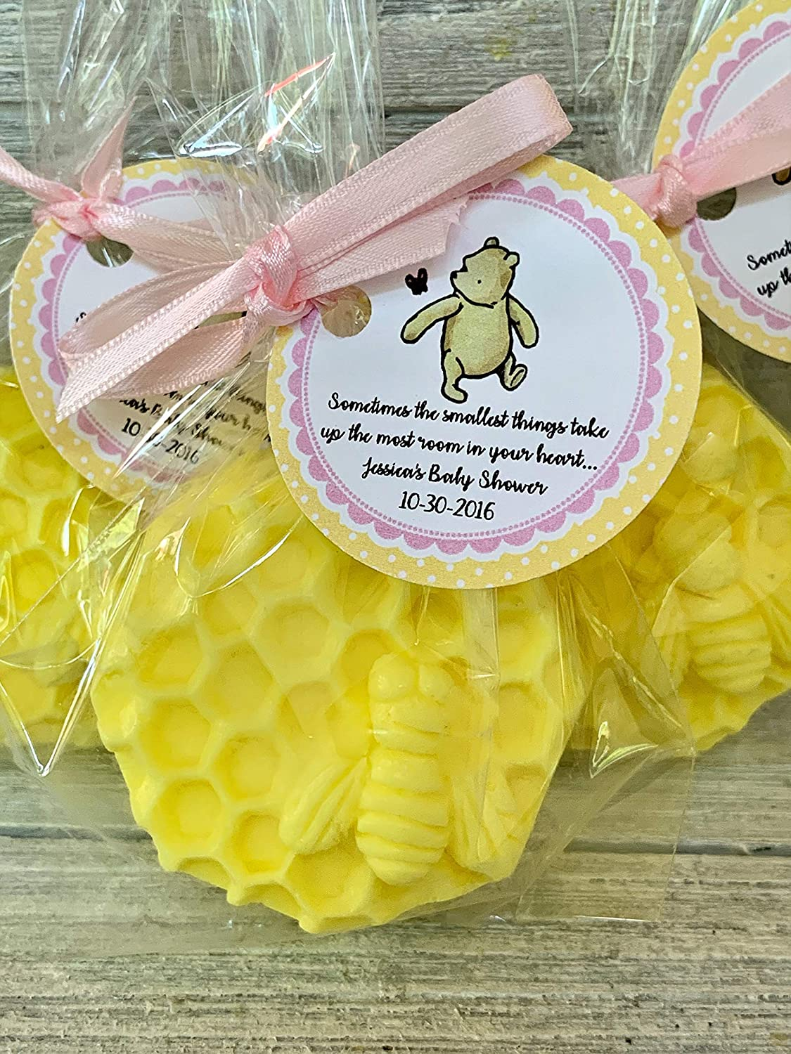 12 favors.Sprinkled with glitter Winnie The Pooh soap favorsClassic Pooh soap favors includes bag tag Choose color and scent. ribbon