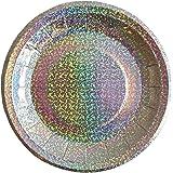 Bash Party Goods 100117 Mini Disco Paper Plates, Silver