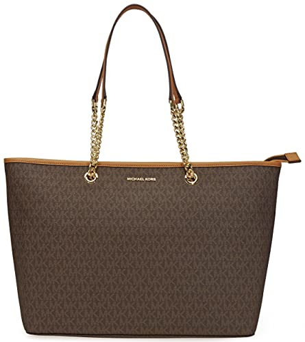 0cf4e000f341 Amazon.com  Michael Kors Womens Jet Set Travel Signature Tote Handbag Brown  Large  Shoes