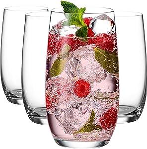 Godinger Highball Glasses, Tall Beverage Glass Cups, European Made - 16oz, Set of 4