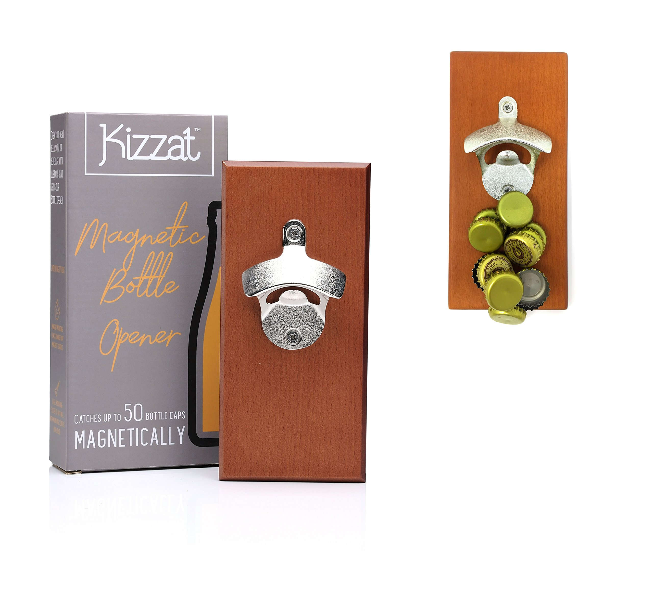 Wall Mounted Magnetic Bottle Opener and Cap Catcher with Hanging Kit, Made with Premium Beech Wood and Upgraded Stronger Magnets for Home Bar Kitchen or Man Cave